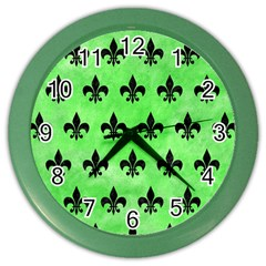 Royal1 Black Marble & Green Watercolor Color Wall Clocks