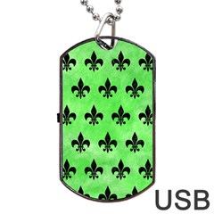 Royal1 Black Marble & Green Watercolor Dog Tag Usb Flash (two Sides)