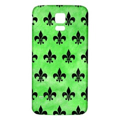 Royal1 Black Marble & Green Watercolor Samsung Galaxy S5 Back Case (white)