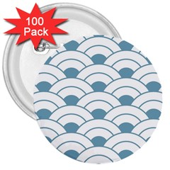 Art Deco,shell Pattern,teal,white 3  Buttons (100 Pack)