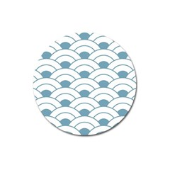 Art Deco,shell Pattern,teal,white Magnet 3  (round)