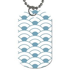 Art Deco,shell Pattern,teal,white Dog Tag (two Sides)
