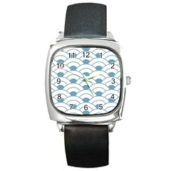Art Deco,shell Pattern,teal,white Square Metal Watch