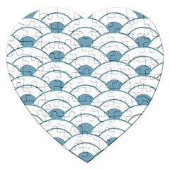 Art Deco,shell Pattern,teal,white Jigsaw Puzzle (heart)