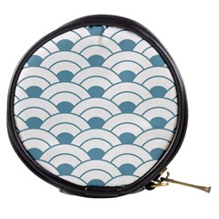 Art Deco,shell Pattern,teal,white Mini Makeup Bags