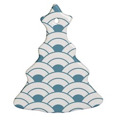Art Deco,shell Pattern,teal,white Christmas Tree Ornament (two Sides)