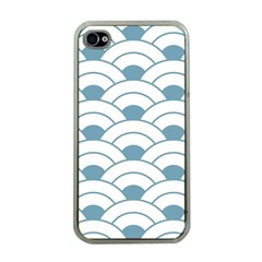 Art Deco,shell Pattern,teal,white Apple Iphone 4 Case (clear)