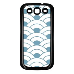 Art Deco,shell Pattern,teal,white Samsung Galaxy S3 Back Case (black)