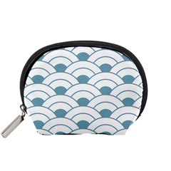 Art Deco,shell Pattern,teal,white Accessory Pouches (small)