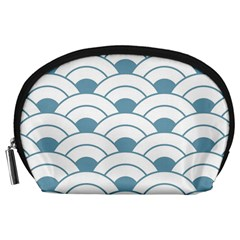 Art Deco,shell Pattern,teal,white Accessory Pouches (large)
