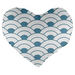 Art Deco,shell Pattern,teal,white Large 19  Premium Flano Heart Shape Cushions
