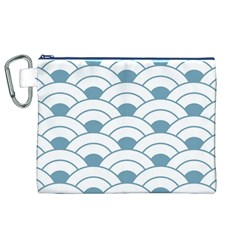 Art Deco,shell Pattern,teal,white Canvas Cosmetic Bag (xl)