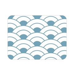Art Deco,shell Pattern,teal,white Double Sided Flano Blanket (mini)