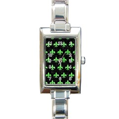 Royal1 Black Marble & Green Watercolor (r) Rectangle Italian Charm Watch