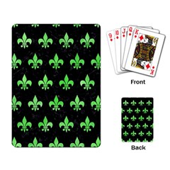 Royal1 Black Marble & Green Watercolor (r) Playing Card
