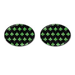 Royal1 Black Marble & Green Watercolor (r) Cufflinks (oval)