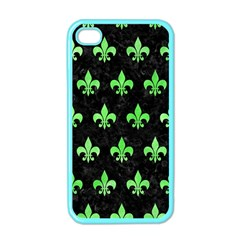 Royal1 Black Marble & Green Watercolor (r) Apple Iphone 4 Case (color)