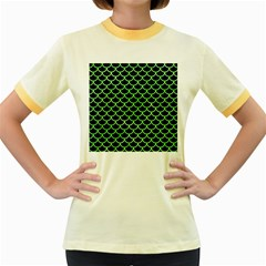 Scales1 Black Marble & Green Watercolor Women s Fitted Ringer T Shirts