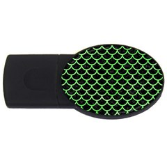 Scales1 Black Marble & Green Watercolor Usb Flash Drive Oval (2 Gb)