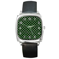 Scales1 Black Marble & Green Watercolor Square Metal Watch