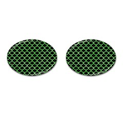 Scales1 Black Marble & Green Watercolor Cufflinks (oval)