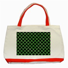 Scales1 Black Marble & Green Watercolor Classic Tote Bag (red)