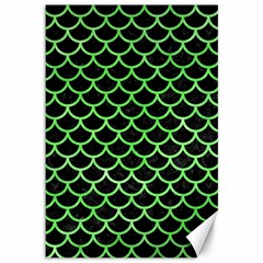Scales1 Black Marble & Green Watercolor Canvas 12  X 18