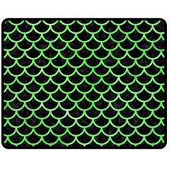 Scales1 Black Marble & Green Watercolor Fleece Blanket (medium)