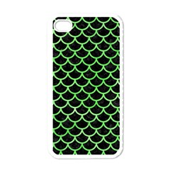 Scales1 Black Marble & Green Watercolor Apple Iphone 4 Case (white)