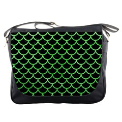 Scales1 Black Marble & Green Watercolor Messenger Bags