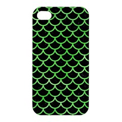 Scales1 Black Marble & Green Watercolor Apple Iphone 4/4s Premium Hardshell Case