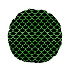 Scales1 Black Marble & Green Watercolor Standard 15  Premium Round Cushions
