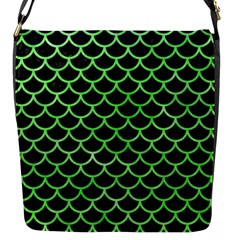 Scales1 Black Marble & Green Watercolor Flap Messenger Bag (s)