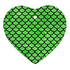 Scales1 Black Marble & Green Watercolor (r) Ornament (heart)