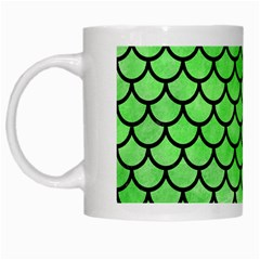 Scales1 Black Marble & Green Watercolor (r) White Mugs
