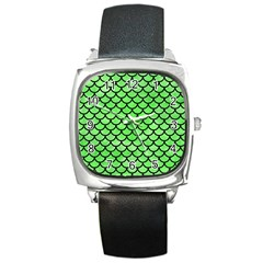 Scales1 Black Marble & Green Watercolor (r) Square Metal Watch