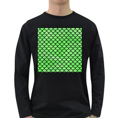 Scales1 Black Marble & Green Watercolor (r) Long Sleeve Dark T Shirts