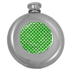 Scales1 Black Marble & Green Watercolor (r) Round Hip Flask (5 Oz)