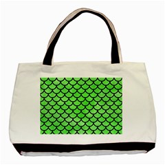 Scales1 Black Marble & Green Watercolor (r) Basic Tote Bag (two Sides)