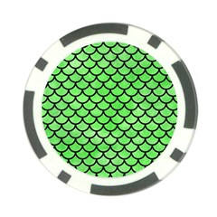 Scales1 Black Marble & Green Watercolor (r) Poker Chip Card Guard