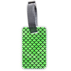 Scales1 Black Marble & Green Watercolor (r) Luggage Tags (one Side)