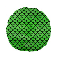 Scales1 Black Marble & Green Watercolor (r) Standard 15  Premium Flano Round Cushions