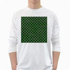 Scales2 Black Marble & Green Watercolor White Long Sleeve T Shirts