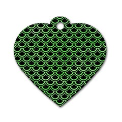 Scales2 Black Marble & Green Watercolor Dog Tag Heart (two Sides)