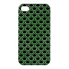 Scales2 Black Marble & Green Watercolor Apple Iphone 4/4s Premium Hardshell Case