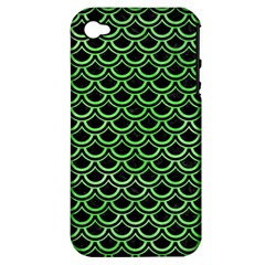 Scales2 Black Marble & Green Watercolor Apple Iphone 4/4s Hardshell Case (pc+silicone)