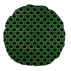 Scales2 Black Marble & Green Watercolor Large 18  Premium Round Cushions