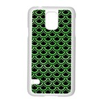 SCALES2 BLACK MARBLE & GREEN WATERCOLOR Samsung Galaxy S5 Case (White) Front