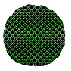Scales2 Black Marble & Green Watercolor Large 18  Premium Flano Round Cushions