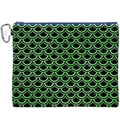 Scales2 Black Marble & Green Watercolor Canvas Cosmetic Bag (xxxl)